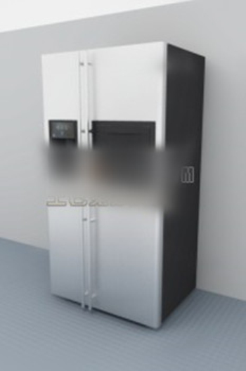 3d model of two-door refrigerator