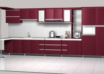 The red cabinetry 3D model
