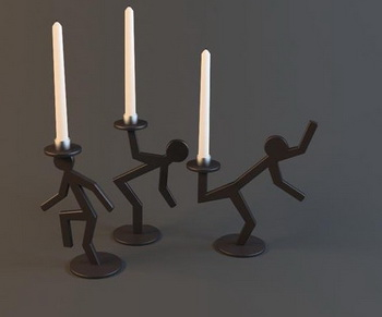 Black oddly shaped candlestick