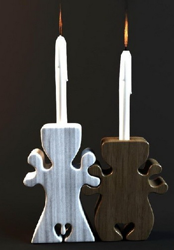 Black and white Chinese wooden candlesticks