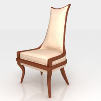 High back wooden single chair 3D model