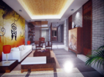 Chinese-style shift gate abstract style living room 3D model