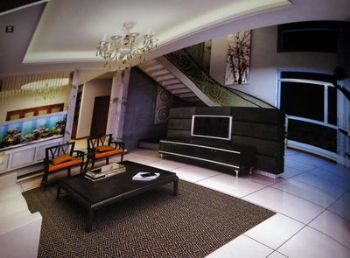 The living room of the duplex structure 3D model