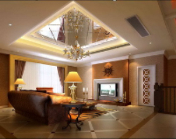 Roof mirror design living room model
