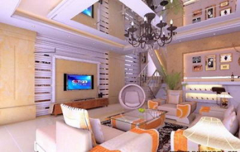 The spacious, modern living room