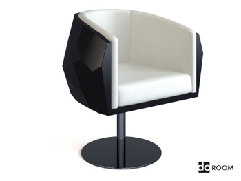 Black and white modern rotating lounge chair
