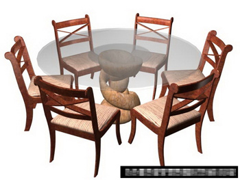 3D model of the composition of the open-air small courtyard tables and chairs