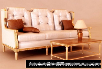 The European Jingdiao fabric sofa 3D model