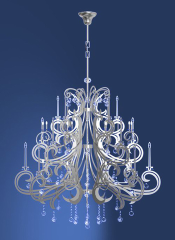 3D model of modern European crystal relief chandeliers