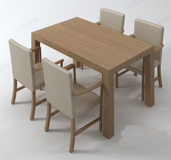 Simple solid wood tables and chairs combination