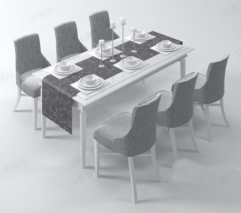 The stylish eight people dining table model