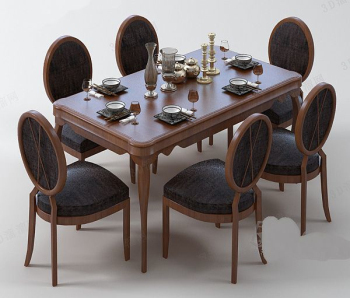European cortex dining table combination model