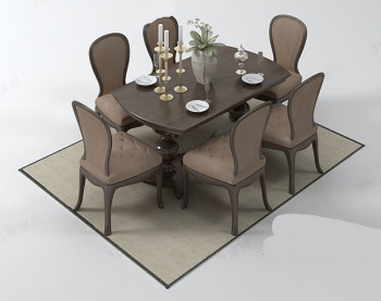 Warm family dinner table combination model