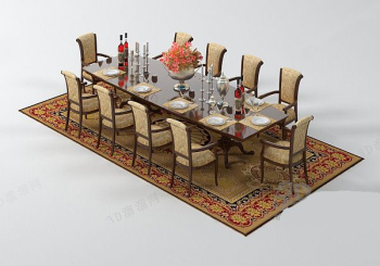 European people dining table model