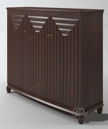 Red-brown solid wood cabinet model