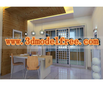 The relief glass lattice sliding door 3D models