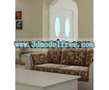 The European pure white wooden sliding door 3D models