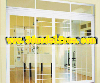 Fashion stainless steel glass sliding door 3D models