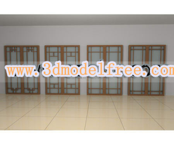The simple Chinese wooden glass door 3D models