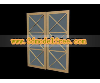 The box timber glass sliding door 3D models
