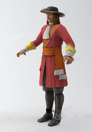 The male red nobility 3d model