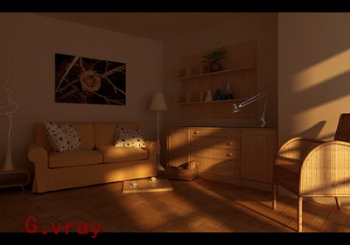 Sunset living room 3D model