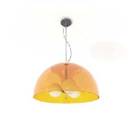 Arc-shaped orange ceiling lights