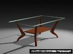 Wood glass coffee table 3D model