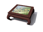 Square wooden coffee table painting