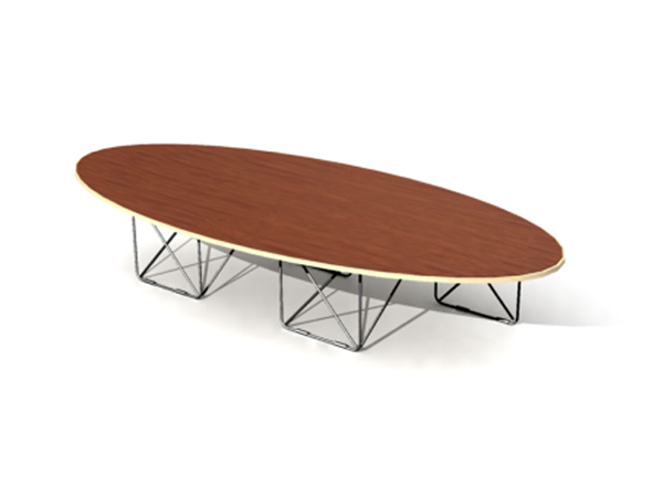 Long arc-shaped coffee table