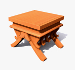 Square solid wood coffee table 3D Model Arts
