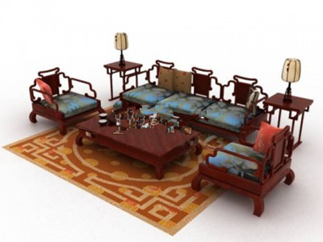 Chinese style sofa set model 3d model download free 3d for Chinese style sofa