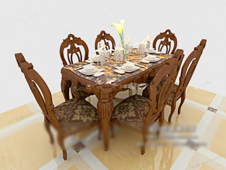 Brown Chair Set 3d models