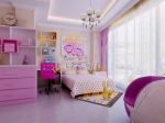 Pink girl bedroom models