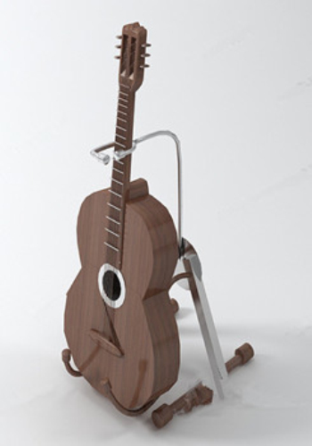 Brown guitar 3d model