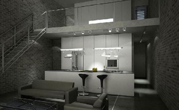 Two-storey home kitchen model