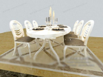 3d model of a combination of white chairs