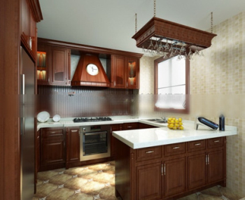 Solid wood kitchen 3d model