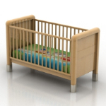 3D model of a wooden crib