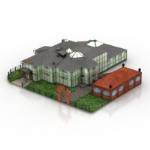 3D model of European villa landscape conjoined
