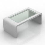 transparent white border coffee table model