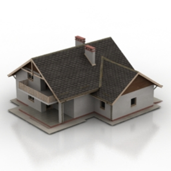 European 3D model of the old era cottages