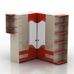 red corner cupboard model