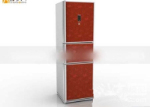 3d model big red fridge