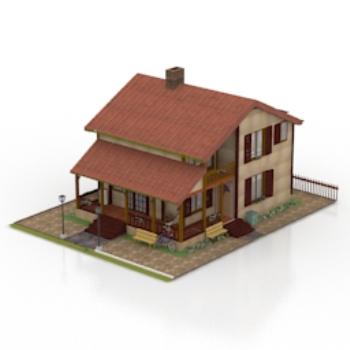 3d model of a modern villa