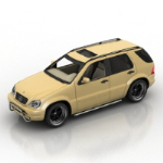 Yellow 3d model SUV