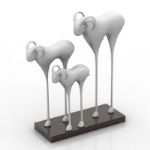 Three lambs metal sculpture model