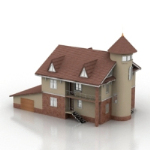 3D model of the classic European-style villas