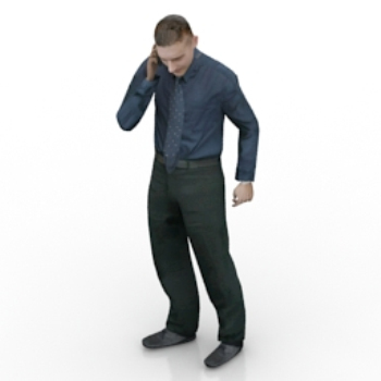 Men 3D model is on the phone