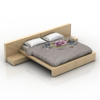 Double wooden bed model